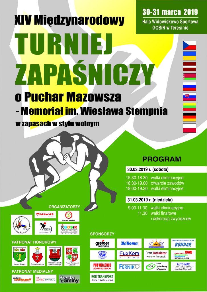 plakat miedzynarodowy turniej zapasniczy o puchar mazowsza 2019
